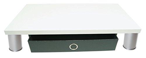 Monitorständer mit Schubladenbox Schwarz und Standfüße in Alu/Chrom - Holzart: Topweiss