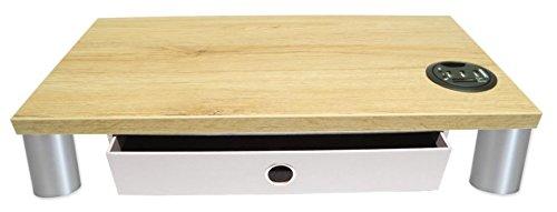 Monitorständer mit Schublade Stone, USB Hub mit Cardreader und Standfüße Kunststoff Matt lackiert - Bildschirmständer Monitorerhöhung Schreibtischregal Podest. Holzart: (Eiche San Remo)