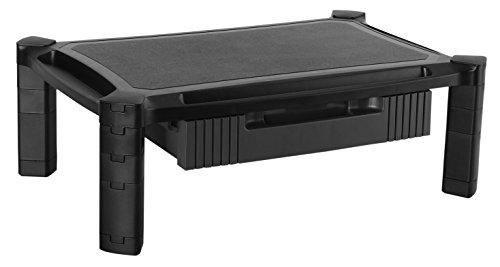 RICOO Monitorständer Höhenverstellbar WM2-L Universal Monitorstandfuß Bildschirmständer Monitor Erhöhung Modular Podest Organizer mit Schublade Standfuß 33-84cm 13-32 Zoll Kunststoff Schwarz