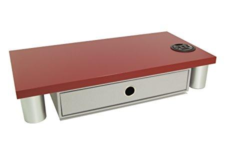 Monitorständer mit 3 USB-, SD-Karten-und Kopfhöreranschluss, Bildschirmständer Monitorerhöhung Schreibtischregal, Ergonomisches Arbeiten mit PC und Mac, mit Design Schubladenbox