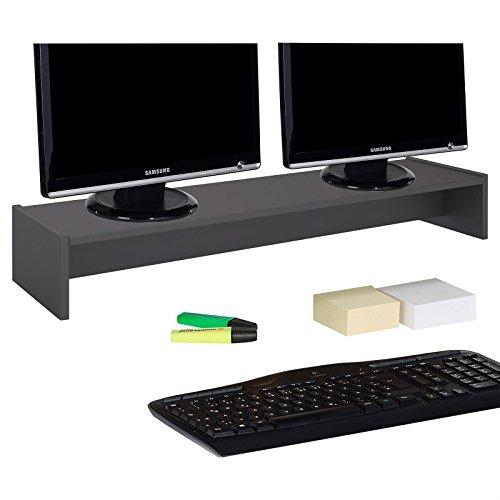 CARO-Möbel Monitorständer Zoom für 2 Monitore Bildschirmerhöhung Schreibtischaufsatz Tischaufsatz 100 x 15 x 27 cm in grau