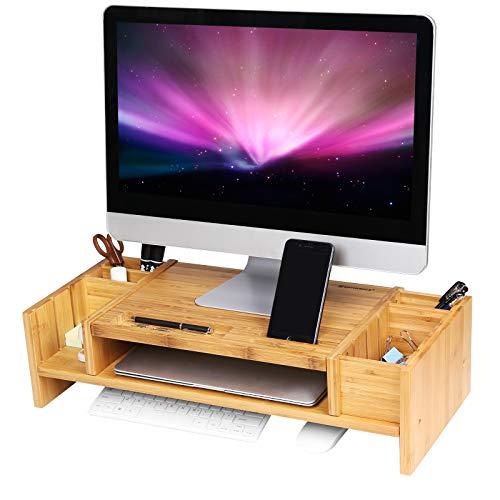 SONGMICS Monitorständer mit Stauraum, ergonomischer Bildschirmständer aus Bambus, für Monitor oder Laptop, LLD213