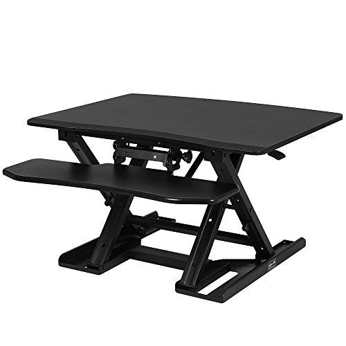 SONGMICS Sitz-Steh-Schreibtisch höhenverstellbarer Aufsatz Laptop-Ständer Monitorständer Schnell zum Stehen einstellen Abnehmbaren und winkeleinstellbaren Tastaturablage 80 x 59 cm schwarz LSD08B