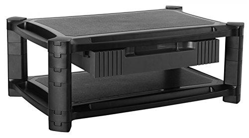 RICOO Monitorständer Höhenverstellbar WM3-L Universal Monitorstandfuß Bildschirmständer Monitor Erhöhung Modular Podest Organizer mit Schublade Standfuß 33-84cm 13-32 Zoll Kunststoff Schwarz