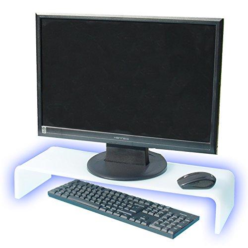 Prodest / Monitor Ständer Erhöhung / Bildschirm Standfuß / TV Bank Aufsatz aus Acrylglas - Weiss - durchscheinend (60 x 20 x 10cm)