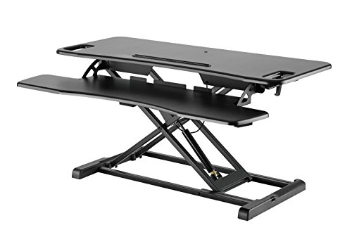 Exeta Höhenverstellbarer Steh-Sitz Tischaufsatz Schreibtisch. (Model 2018) Höhenverstellbarer Schreibtisch // in schwarz