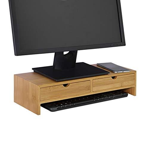 SoBuy FRG198-N Monitor Bildschirm Ständer Monitorerhöhung Bildschirmerhöher Monitorständer Tischaufsatz aus Bambus mit 2 Schubladen BHT ca.: 47x18x11cm