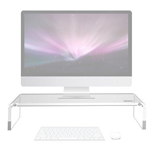 Duronic DM053 Bildschirmständer/Monitorständer / Notebookständer/TV Ständer/Bildschirmerhöhung / Laptop | Acrylglas | transparent | 50cm x 20cm | 30kg Kapazität