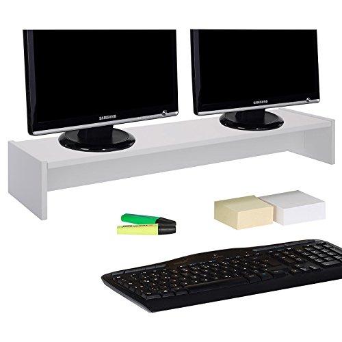 CARO-Möbel Monitorständer Zoom für 2 Monitore Bildschirmerhöhung Schreibtischaufsatz Tischaufsatz 100 x 15 x 27 cm in weiß